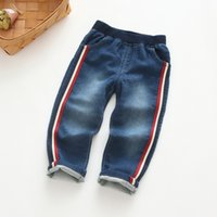 Wholesale Babies Clothes Shops - 2017 new design kids clothing children trousers boys turn down pants edge ink white baby jeans free shopping