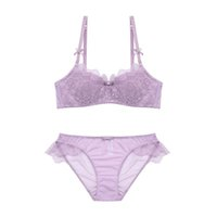 Wholesale white bra 36b - 4 colors thin cotton sexy young women lingerie suits lash lace push up brassieres sets A B C D cup embroidery floral intimates