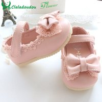 Wholesale Baby Walkers For Sale - Wholesale- Sale 2015 Spring Autumn Baby Girl Shoes Cute Lace Bowknot Princess First Walkers Enfant PU Leather Shoes For Party Size 4-9.5