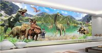 Wholesale Giant Wall Mural Stickers - Wholesale- 3d room wallpaper custom mural non-woven wall sticker 3d The huge giant dinosaur world painting photo 3d wall murals wallpaper