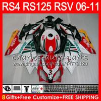 aprilia rsv weiße verkleidungen großhandel-Karosserie für Aprilia RS4 RSV125 RS125 06 07 08 09 10 11 RS125R RS-125 70HM11 RSV 125 RS 125 2006 2007 2008 2009 2010 2011 Verkleidungskit Rot weiß