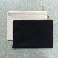 Wholesale canvas makeup bags wholesale - 7x10 inches blank natural cotton cosmetic bag 12 oz natural canvas cosmetic bag plain black makeup bag with golden metal zipper