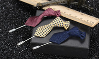 Wholesale mens wedding cravats for sale - Group buy Handmade Fashion Unisex Tie Fabric Brooches Womens Mens Suit Cravat Corsage Lapel Pin Party Boutonniere Stick Breastpin Brooch