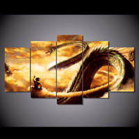 Wholesale Dragon Paint - 5 Pcs Set Framed HD Printed Cartoon Dragon Ball Z Picture Wall Art Canvas Print Room Decor Poster Canvas Pictures Painting