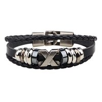 Wholesale Leather Bracelet Jewel - Europe and the United States leather bracelet X letter retro bracelet stainless steel accessories star with the same paragraph cowhide jewel