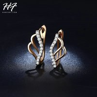 Wholesale- Moda Design Unique Butterfly Sharped Jóias Rose Gold Color AAA Cubic Zirconia Engagement Hoop Earrings for Women E827