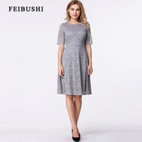 Wholesale Tunic Bridesmaid Dresses - FEIBUSHI 2017 Womens Elegant Sexy Lace See Through Tunic Casual Club Bridesmaid Mother of Bride Dress Skater A-Line Party Dress