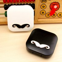 Wholesale Travel Contact Lens Case Holder - Lovers Cartoon Cute Beard Travel Glasses Contact Lenses Box Contact lens Case for Eyes Care Kit Holder Container Gift F2017420