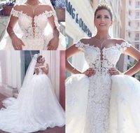 online shopping Ball Gowns - Luxury Stunning Arabic 2017 Ball Gown Wedding Dresses Sexy Off the Shoulder Sleeveless Backless Lace Appliqued with Detachable Train