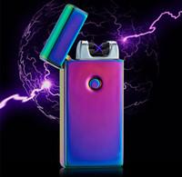 Wholesale Electronic Cigarette Alloy Case - High Quailty Cross Double Arc Lighter Case USB Pulse Windproof Lighters Electronic Metal Men Cigarette lighter Including retail packaging