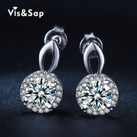 Wholesale Ba Jewelry - Visisap White Gold color Wedding earrings for women vintage earring round clear cubic zirconia fashion jewelry bijoux VSE037 Rated 4.7  5 ba