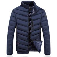 Wholesale Men Parka Goose - Wholesale- Winter Down Jacket Men 2016 New Brand Men Stand Collar Made of Goose Feather Thick Coat Men's Parkas