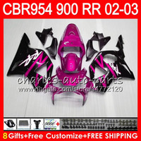 cbr 954 rr körper kits großhandel-Karosserie für HONDA CBR 954RR CBR900RR Rose Pink CBR954RR 2002 2003 66NO48 CBR900RR CBR954 RR CBR900 RR CBR 954 RR 02 03 Verkleidungsset 8Gifts