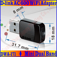 Wholesale D Link Stock - Wholesale- DWA-171 D&Link 2.4G+5GHz Performance Dual Band AC600 Wireless WIFI USB Adapter 802.11acbgn 600Mbps WiFi Speed