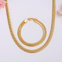 "Wholesale mens solid gold bracelets - SOLID 14K 14CT Yellow GOLD GF Open LINK Wide 9mm CHAIN NECKLACE 23.6"" MENS WOMANS Bracelet Set"