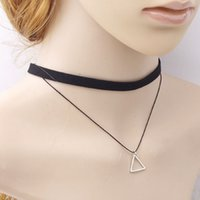Wholesale Mixed Geometric Necklace - Mixed Color New Korean Version Of The Retro Simple Lady Multi - Layer Clavicle Chain Geometric Pendant Necklace