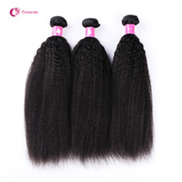 Wholesale Afro Kinky Straight Hair - Virgin Brazilian Kinky Straight Hair Weave 1B Black Remy Coarse Yaki Hair Weft 3 Bundles lot Forawme Human Hair Afro Weave Free Shipping