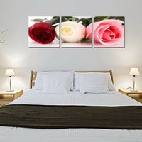 Wholesale Red Floral Wall Art - 3 Panles Tricolor Rose Painting Red Pink White Flower Picture Print on Canvas Wall Art with Wooden Framed Artworks For Home Decoration