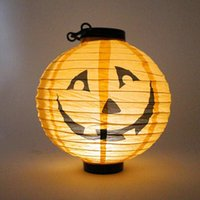 Wholesale Paper Hanging Decoration - Halloween Paper Lanterns Hanging Pumpkin Lantern with Halloween Holiday Decoration Lanterns with LED Light Skeleton Bats Jack-O Spiders