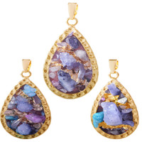 Wholesale Crystal Cross For Jewelry Making - Fashion Gold Fame Baroque Style Mixed Color Shape Irregular Crystal Natural Stone Cross Ellipse Rhombus DIY Charm Making For Women Jewelry