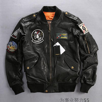 Wholesale avirex leather jackets - 2 colours Avirex fly Flocking sheepskin genuine leather jackets AVIREX fighting bomber jacket ABLACK