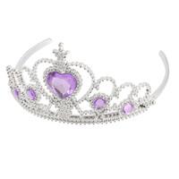 bandeau violet diadème achat en gros de-Gros-plastique femme mariage faux rhinestone tiare bandeau ton argent pourpre