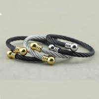 Wholesale Couples Rope Bracelets - Europe and the United States nuts gold plated black silver titanium rope bracelet couple bracelet jewelry accessories
