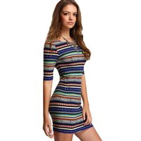 Wholesale Evening Night Dress - 2017 Summer Dress Women Boho Clothing Polyester Girl Pencil Dress Striped Sexy Printing Bodycon Women Evening Party Dresses Vestidos