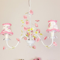 Wholesale Modern Floral Pendant Light - Country Rustic Living Room Chandeliers Floral Fabric Metal Leaf Pink Ceramic Rose Bedroom Bar Counter Dining Room Hanging Lamp