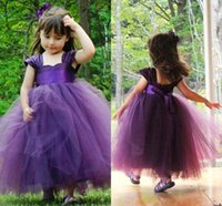 Wholesale cheap purple christmas stockings - Cheap In stock Cute Flower Girl Dresses 2017 New 3 Colors Wedding Princess Girl Pageant Gowns Full Length Tulle Kids Dresses MC0388
