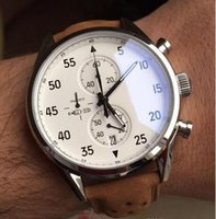 Wholesale White Glass Mens Watch - 2017 NEW ARRIVAL Carrea Calibre 1887 SpaceX Chrono Flyback Stopwatch White Dial Brown Leather Belt Mens Watches Sports Gent Watch VK Chronog