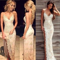 Wholesale Gold Sequin Dress Full Length - 2018 Sexy Full Lace Spaghetti Straps Prom Dresses Lace Appliques With Front Split Sexy Backless Celebrity Party Evening Gowns robes BA3397