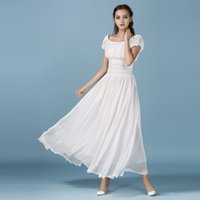 Wholesale Ones Morality - Dress For Woman One Word Led Elastic Waist, Cultivate One's Morality Show Thin Bohemian Dress Strapless Long White