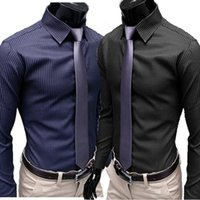 Wholesale Men S Business Office - Wholesale- 2016 high quality autaum boss men stripes social shirts long casual black dress shirt business office slim fit camisa masculina