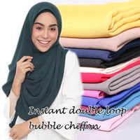 Wholesale Hijab Selling - Wholesale- Malaysia hot selling design instant double loop bubble chiffon scarf  shawls two face hijab muslim 23 color scarves scarf