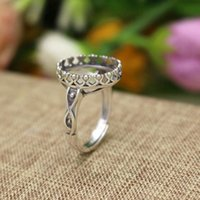 Fine Silver 925 Sterling Silver Engaement Wedding Ring Setting para mulheres Jóias Opal Agate Amber Setting