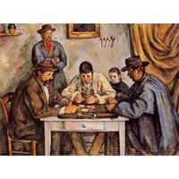 abstrakte landschaft gemälde einzigen leinwand großhandel-Paul Cezanne Paintings Die Kartenspieler Detaillierte abstrakte Landschaften Kunst Leinwand handbemalten Wanddekor