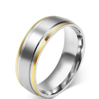 Wholesale Stainless Steel R Jewelry - 316L Stainless Steel Rings for Men Women Engagement Wedding Classic Gold Color Rings Jewelry R-002