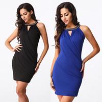Wholesale Vetement Femme Slim - 2016 Fashion Summer O-neck Chain Cutout Slim Hip Blue   Black Womens Sexy Dresses Party Night Club Dress Vetement Femme