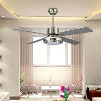 Wholesale Metal Modern Ceiling Lighting - 132cm Ceiling Fan LED Pendant Lamps 24W E27 AC 220V LED Pendant Lights with Metal Glass for Bedroom
