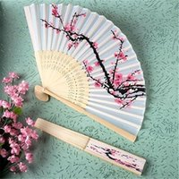 Wedding blossom decor - Unique Chinese Folding Hand Fan Cherry Blossom Bamboo Silk Fan Wedding Favors Costume Decor