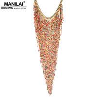 ingrosso collane di stile in perle in boemia-Manilai Bohemian Design Style Donne Fascino di moda in resina Fascetta Handmade Long Tassel Dichiarazione Link Chain Choker Necklace