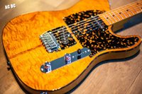 Wholesale Red Sunburst Electric Guitar - HS Anderson & Hohner Madcat Vintage Rare Electric Guitar Flame Maple Top Yellow Finish Nicer Red Turtle Pickguard TLHS Anderson & Hohner Mad