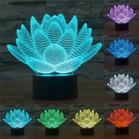 botões de luz de cor led venda por atacado-3d led luzes usb luz da noite estranho estereoscópico ilusão visual lâmpada 7 cores mudando botão lótus levou decoração luz