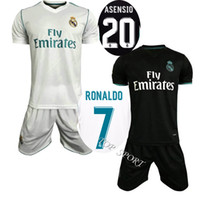 Wholesale 17 Real Madrid Home White Soccer Jerseys RONALOD Bale KROOS ISCO Black Soccer Kits Away Black Men s Thai Quality Football Sets