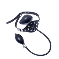 Wholesale latex toy adult - Latex Deep Throat Inflatable Mouth Gag Adult Sex Product BDSM Bondage Training Sex Toys
