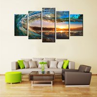 5 Panels Rolling Wave Painting Seascape Canvas Painting Wall Art Imagem Imprimir Giclee Artwork com Wooden Framed Home Decor Pronto para pendurar