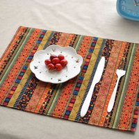 Wholesale Wholesale Ethnic Fabric Prints - Wholesale- 4PCS Lot 32*45cm Ethnic Style Fashion Linen Fabric Placemat Heat Insulation Mat Dining Table Mat Coasters Newspaper Printed Pads