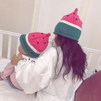 Wholesale Watermelon Hat Girls - Children Winter Watermelon Knitted Hats Girls Boys Beanies Cap Baby Warm Caps2colors