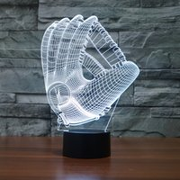 Wholesale Color Changing LED Night Light Lamp Mood D Baseball Glove Acrylic Bedroom Lighting Decoration MLB Softball Mitt Nightlight